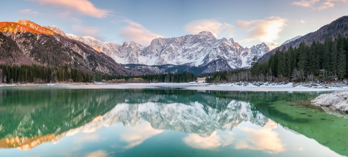 Lago di Fusine at sunset