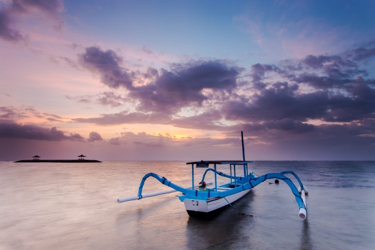 Fishing boat on sunrise